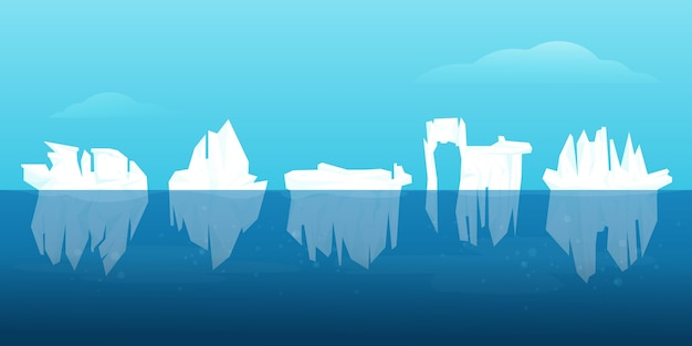Conceito de ilustração de coleção de iceberg
