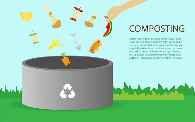 Conceito de ilustração de compostagem