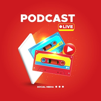 Conceito de ilustração de conceito de podcast com cassete realista