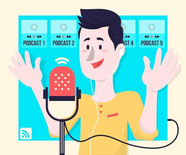 Conceito de ilustração de conceito de podcast