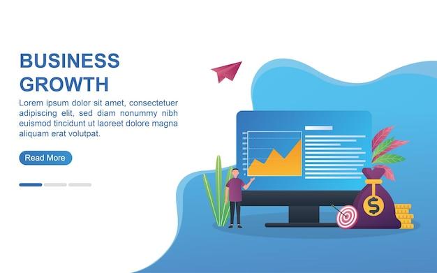 Conceito de ilustração de crescimento de negócios com diagrama ascendente.