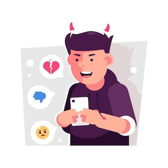 Conceito de ilustração de cyber bullying