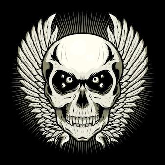 Conceito de ilustração de desenho vetorial detalhado de cabeça de crânio com asas