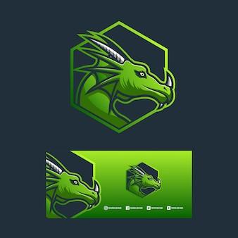 Conceito de ilustração de design de logotipo de dragão