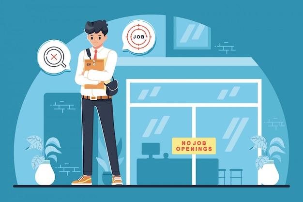Conceito de ilustração de design plano de candidato a emprego