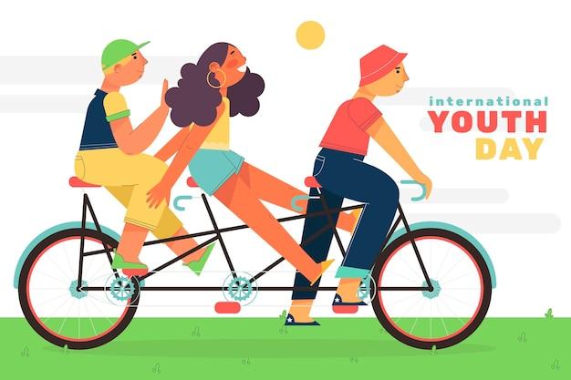 Conceito de ilustração de dia de juventude plana
