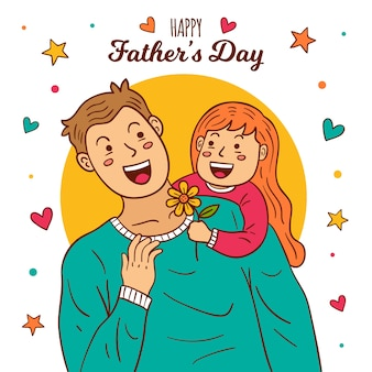 Conceito de ilustração de dia dos pais desenhados à mão
