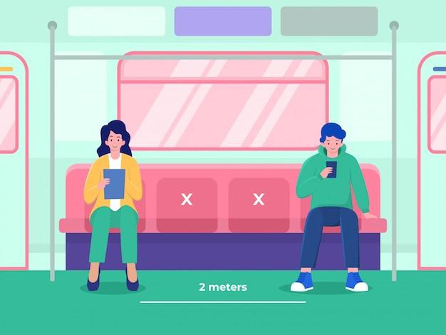 Conceito de ilustração de distanciamento social, as pessoas no metrô mantêm distância física para evitar a doença do vírus corona, podem ser usadas para página de destino, modelo, interface do usuário, web, página inicial, cartaz, banner, panfleto