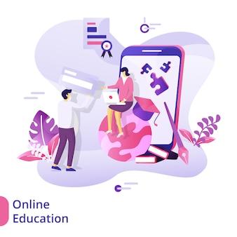 Conceito de ilustração de educação on-line da página de destino