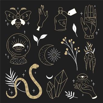 Conceito de ilustração de elementos esotéricos