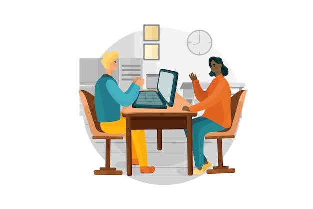 Conceito de ilustração de entrevista de emprego