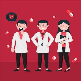 Conceito de ilustração de equipe profissional de saúde