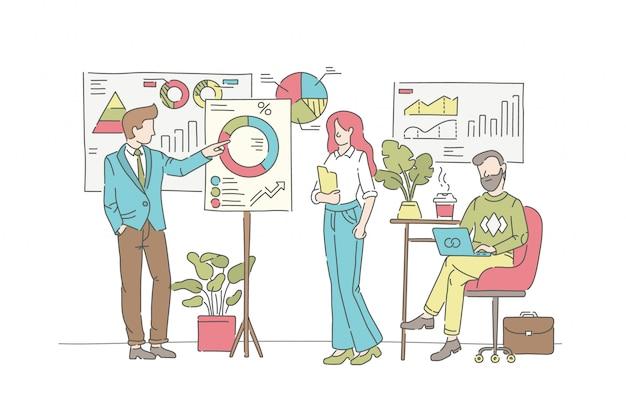 Conceito de ilustração de estatísticas de negócios. símbolo de gestão, trabalho em equipe, parceria.