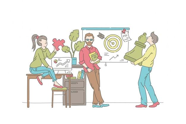 Conceito de ilustração de estratégia de negócios. símbolo de marketing, trabalho em equipe, desenvolvimento.