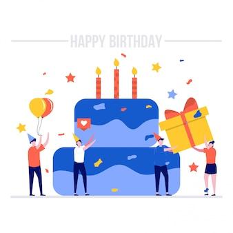 Conceito de ilustração de feliz aniversário com bolo grande e personagens.