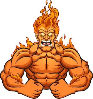 Conceito de ilustração de homem forte em chamas