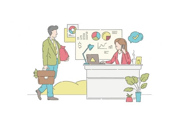 Conceito de ilustração de investimento empresarial. símbolo de gestão, finanças, parceria.