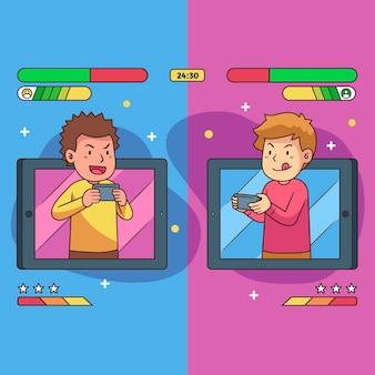 Conceito de ilustração de jogos online