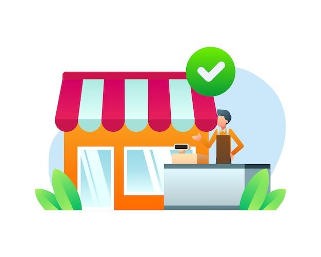 Conceito de ilustração de loja verificada
