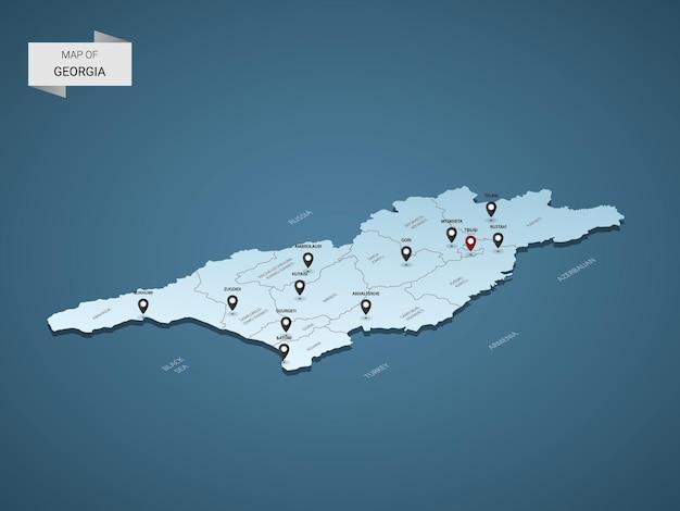 Conceito de ilustração de mapa 3d isométrico da geórgia