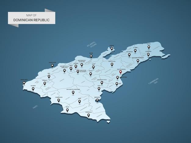 Conceito de ilustração de mapa 3d isométrico da república dominicana.
