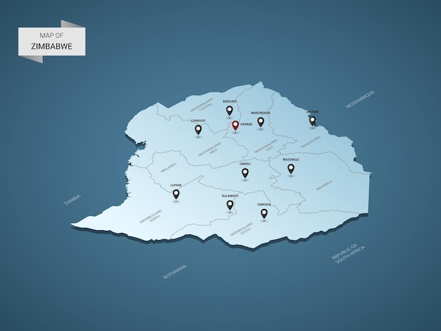 Conceito de ilustração de mapa 3d isométrico do zimbábue.