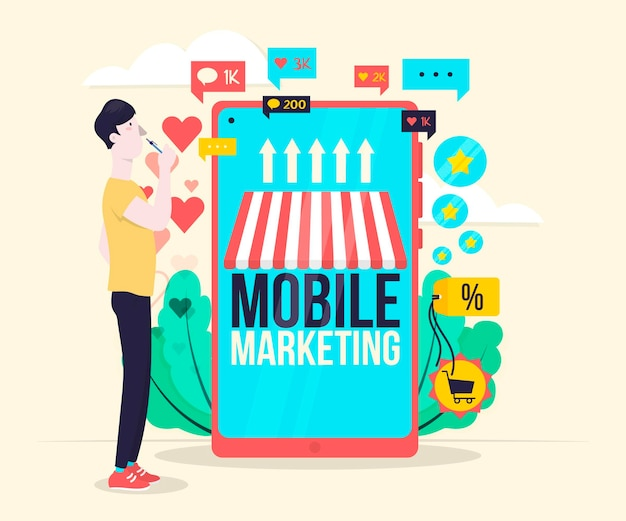 Conceito de ilustração de marketing móvel Vetor grátis