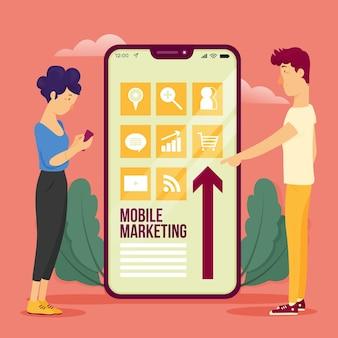 Conceito de ilustração de marketing móvel