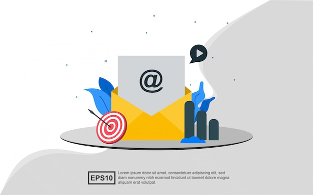 Conceito de ilustração de marketing por e-mail.