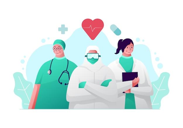 Conceito de ilustração de médico de equipe.