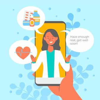 Conceito de ilustração de médico on-line