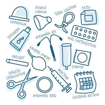 Conceito de ilustração de métodos anticoncepcionais