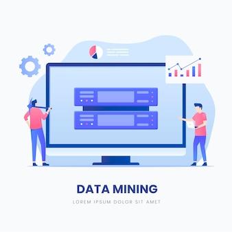 Conceito de ilustração de mineração de dados.