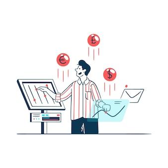 Conceito de ilustração de negócios com um homem gerenciando as finanças