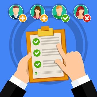 Conceito de ilustração de negócios de vetor design plano entrevista de emprego de qualificação de candidato e lista de verificação.
