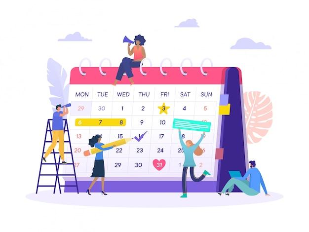 Conceito de ilustração de nomeação de agenda de plano de negócios, grupo de pessoas faz uma programação on-line com grande calendário