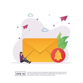 Conceito de ilustração de novo e-mail com uma marca de sino no envelope.