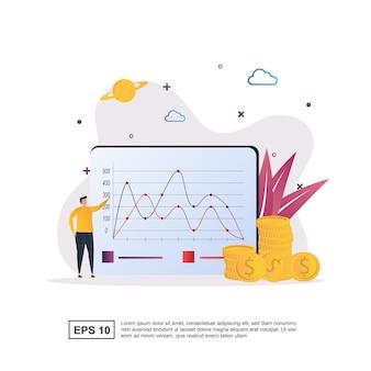 Conceito de ilustração de orçamento com moeda e relatórios de papel.