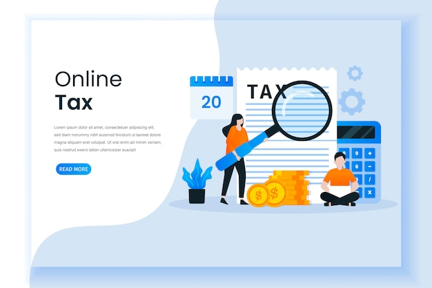Conceito de ilustração de pagamento de imposto on-line