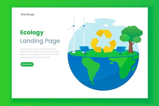 Conceito de ilustração de página de destino de ecologia com painel solar