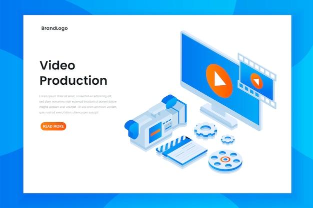 Conceito de ilustração de página de destino de produção de vídeo