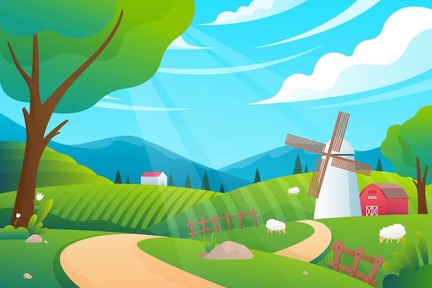 Conceito de ilustração de paisagem campestre