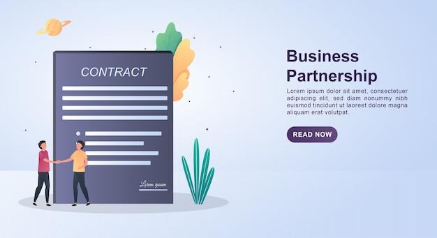 Conceito de ilustração de parceria de negócios com pessoas apertando as mãos e grandes papéis do contrato.