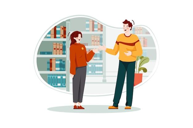 Conceito de ilustração de pessoas discutindo na biblioteca