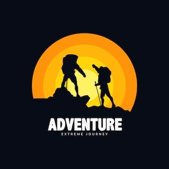 Conceito de ilustração de pessoas escalando montanhas para logotipo e emblema