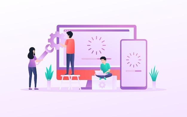 Conceito de ilustração de pessoas minúsculas trabalhando com a atualização do sistema