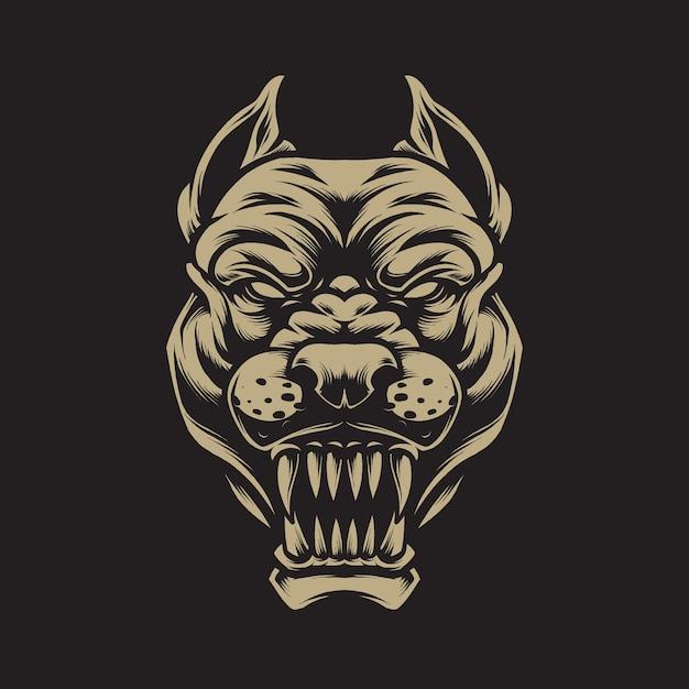 Conceito de ilustração de pitbull com raiva