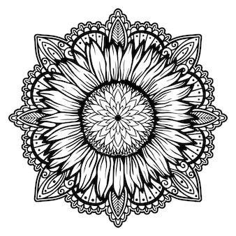 Conceito de ilustração de planta de natureza floral mandala de girassol