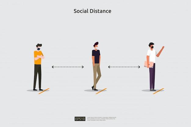 Conceito de ilustração de prevenção de distanciamento social. proteger da propagação do surto de coronavírus covid-19. mantenha um espaço de 1-2 metros de distância entre as pessoas. estilo simples