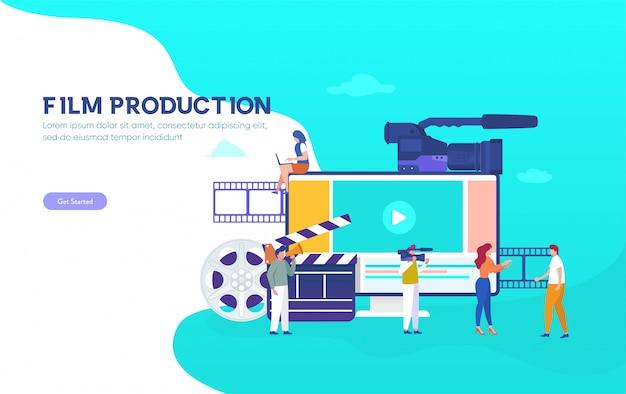 Conceito de ilustração de produção cinematográfica, as pessoas no estúdio fazendo um filme, o curso on-line de cinema pode usar para, página inicial, modelo, interface do usuário, web, aplicativo móvel, cartaz, banner, panfleto, plano de fundo